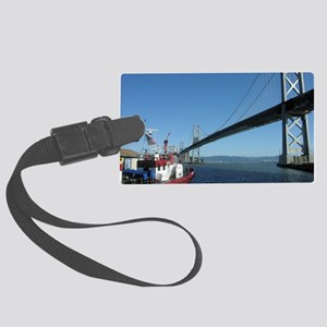 Bay Bridge and Fireboat Large Luggage Tag