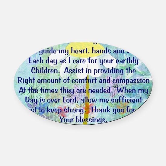 Nurse prayer blanket BLUE Oval Car Magnet