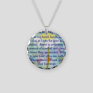 Nurse prayer blanket BLUE Necklace Circle Charm