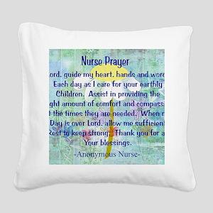 Nurse prayer blanket BLUE Square Canvas Pillow