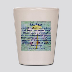 Nurse prayer blanket BLUE Shot Glass