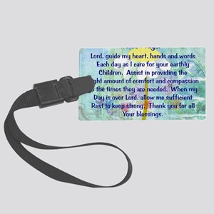 Nurse prayer blanket BLUE Large Luggage Tag