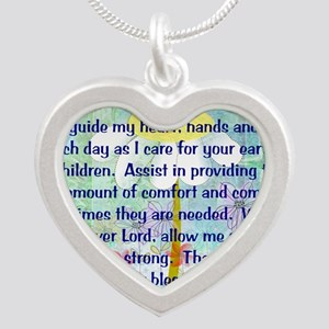 Nurse prayer blanket BLUE Silver Heart Necklace