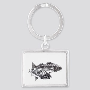 Double Trouble Striped Bass Landscape Keychain
