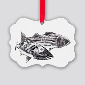 Double Trouble Striped Bass Picture Ornament