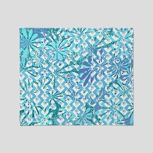 Blue Floral Art Pattern Throw Blanket