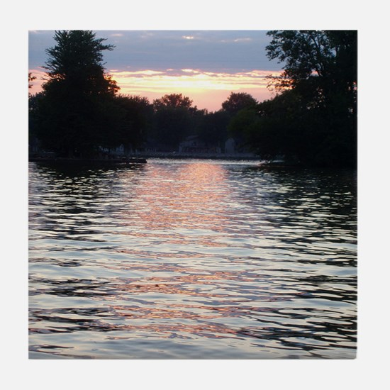 Indian lake Sunset Tile Coaster