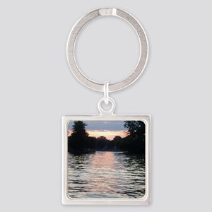 Indian lake Sunset Square Keychain