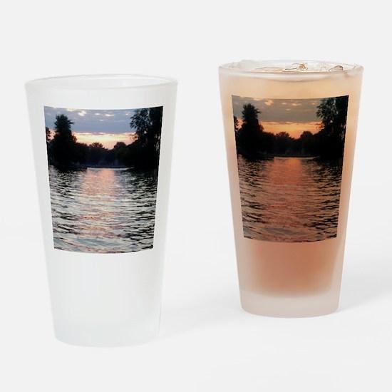 Indian lake Sunset Drinking Glass