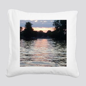 Indian lake Sunset Square Canvas Pillow