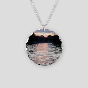 Indian lake Sunset Necklace Circle Charm
