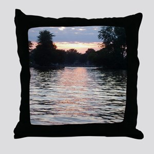 Indian lake Sunset Throw Pillow