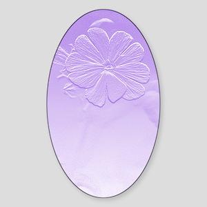 Purple Floral Art Sticker (Oval)