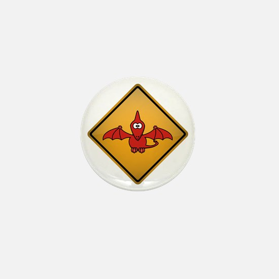 Pterodactyl Warning Sign Mini Button