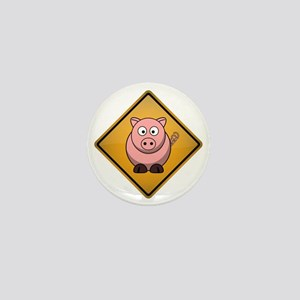 Pig Warning Sign Mini Button