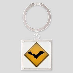 Bat Warning Sign Square Keychain