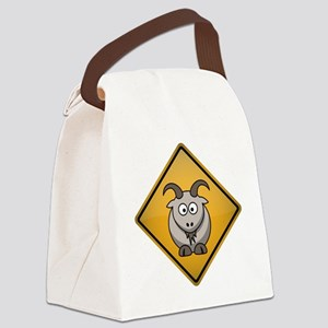 Goat Warning Sign Canvas Lunch Bag