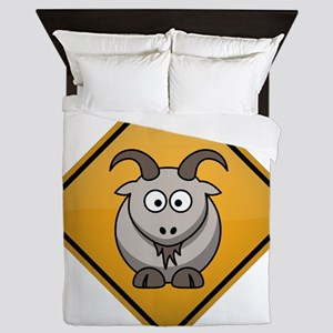 Goat Warning Sign Queen Duvet