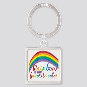 Rainbow is My Favorite Color Square Keychain
