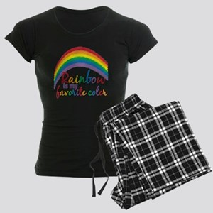 Rainbow is My Favorite Color Women's Dark Pajamas