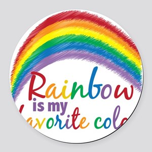 Rainbow is My Favorite Color Round Car Magnet