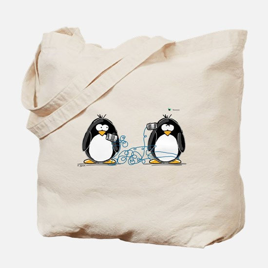 Communication - Penguin Humor Tote Bag