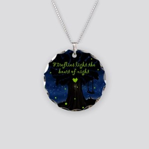 Fireflies light the heart of Necklace Circle Charm
