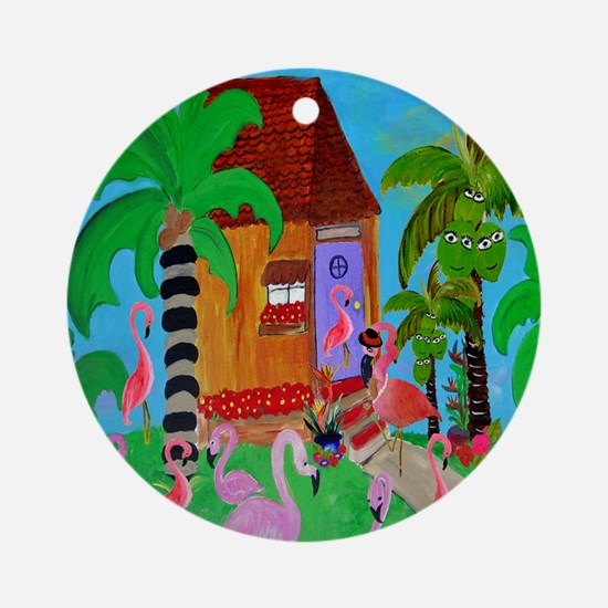 Yard Flamingos Round Ornament