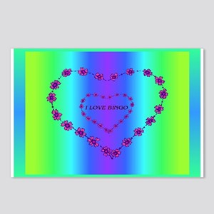 I LOVE BINGO Double Heart Postcards (Package of 8)