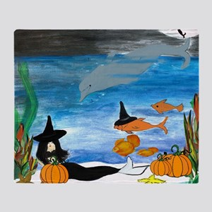 Mermaid Witch Halloween Party Throw Blanket