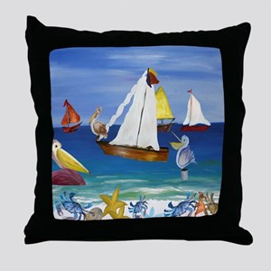 Pelican Beach Throw Pillow