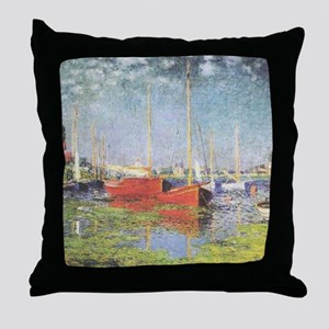 Red Boats at Argenteuil Throw Pillow