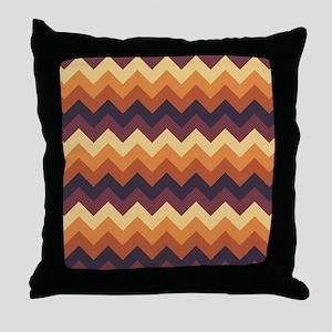 Chevron zigzag design dark light brow Throw Pillow