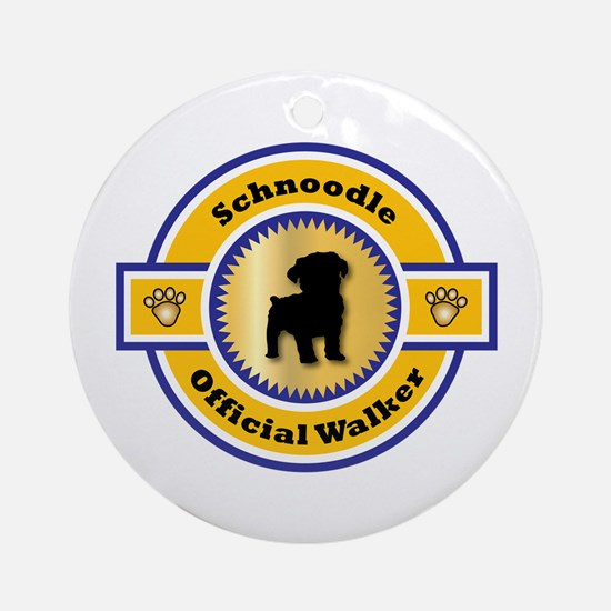 Schnoodle Walker Ornament (Round)