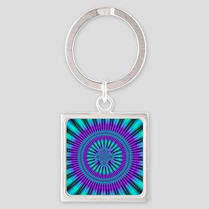 Teal and Purple Mind Warp Fractal Square Keychain