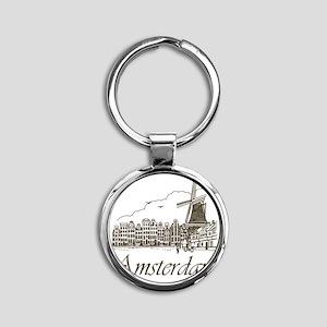 Vintage Amsterdam Round Keychain