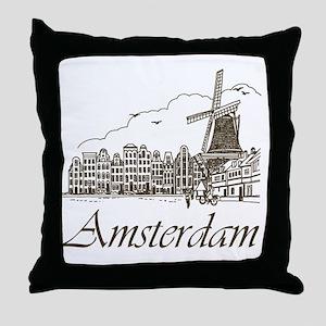 Vintage Amsterdam Throw Pillow