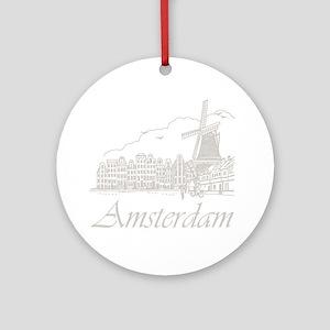 Vintage Amsterdam Round Ornament