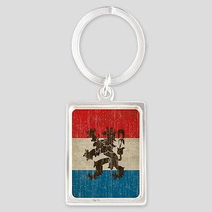 Vintage Netherlands Flag Portrait Keychain