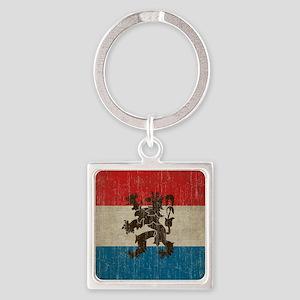 Vintage Netherlands Flag Square Keychain