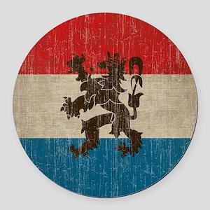 Vintage Netherlands Flag Round Car Magnet