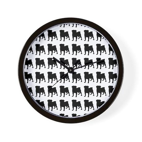 Pug Silhouette Flip Flops In Black Wall Clock
