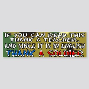 Thank a Teacher & a Soldier Bumper Sticker