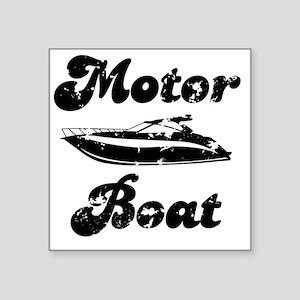"""Motor Boat Square Sticker 3"""" x 3"""""""