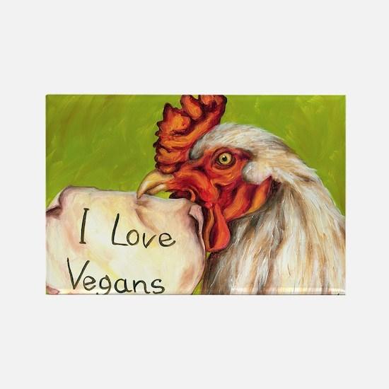 I Love Vegans post card Rectangle Magnet