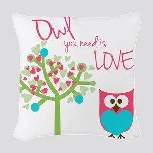Owl You Need is Love Woven Throw Pillow