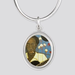 Robert Johnson Hell Hound On  Silver Oval Necklace
