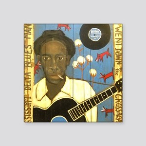 "Robert Johnson Hell Hound O Square Sticker 3"" x 3"""