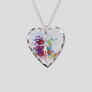 Color Splash Tennis Tshirt Necklace Heart Charm
