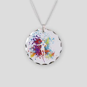Color Splash Tennis Tshirt Necklace Circle Charm